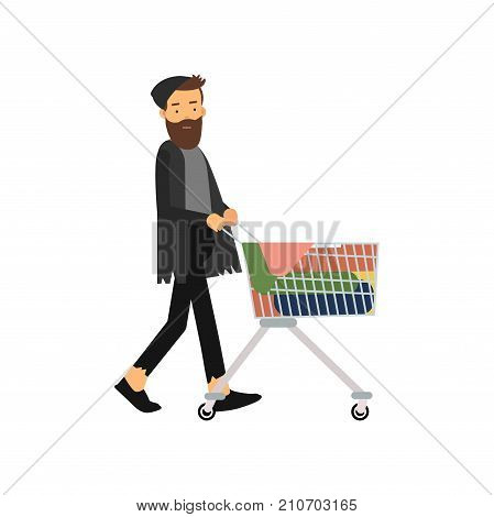 Homeless man pushing shopping cart with his possessions, unemployment male needing for help cartoon vector illustration isolated on a white background