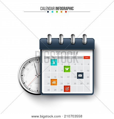 Vector clock with calendar for infographic. Template for diagram, graph, presentation and chart. Shedule concept.