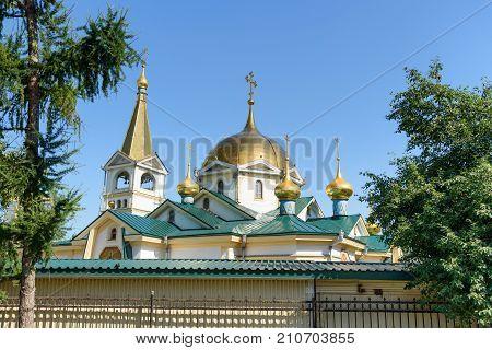 Ascension Cathedral in Novosibirsk city Siberia. Russia