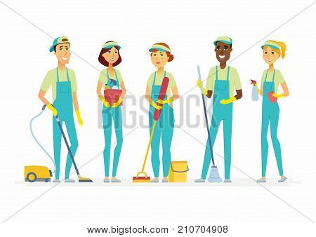 Cleaning staff - cartoon people characters isolated illustration on white background. Standing male and female workers in overalls with tools: vacuum cleaner, mops, bucket, spray bottle