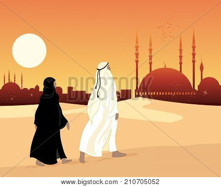 an illustration of a muslim couple going to an ornate temple mosque dressed in traditional islamic clothing under an evening sky with a big yellow sun