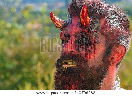 Halloween Demon Man With Beard