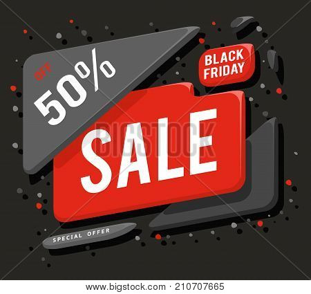 Big black friday sale banner advertising layout special offer concept sticker vector illustration