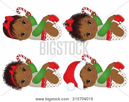 Vector cute little African American baby girls wearing Christmas clothes. Vector Christmas baby girl. Vector baby girls with candy stick. African American baby girls vector illustration