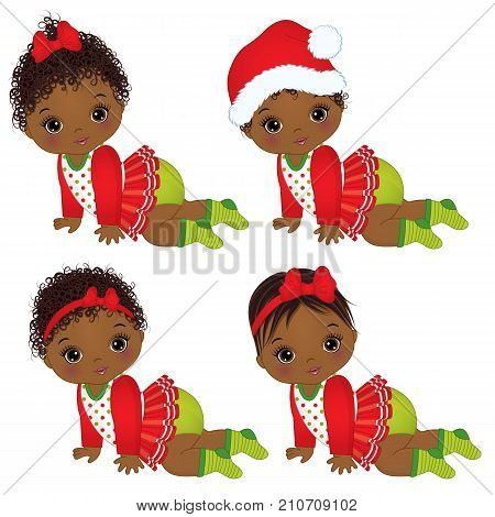 Vector cute little African American baby girls wearing Christmas clothes. Vector baby girl. Vector Christmas baby girls. African American baby girls vector illustration