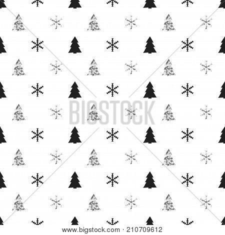 Christmas New Year seamless pattern with snowflakes christmas tree. Holiday background. Xmas winter decoration. Silver texture. Hand drawn vector illustration. Snow pattern. Wrapping gift paper