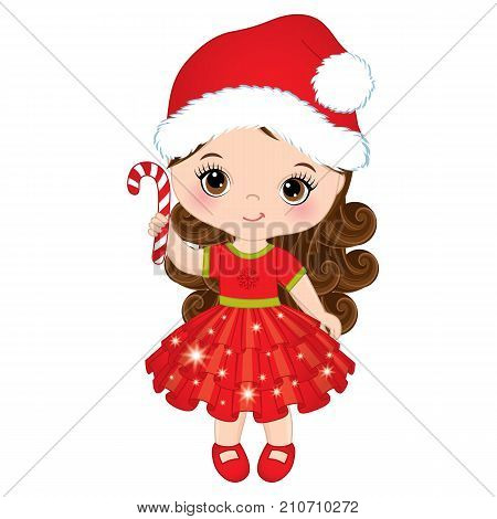 Vector cute little girl with wearing Santa hat. Vector little girl with candy stick. Vector Christmas girl. Little girl vector illustration