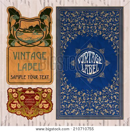 vector vintage items: label Art Nouveau - illustration