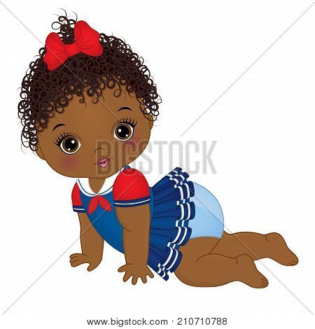 Vector cute little African American baby girl dressed in nautical style. Vector baby girl. African American baby girl vector illustration
