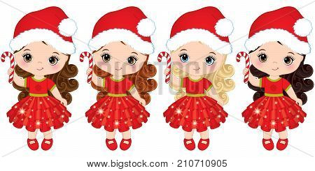 Vector cute little girls wearing Santa hats. Vector little girls with candy sticks. Vector Christmas girls with various hair colors. Little girls vector illustration
