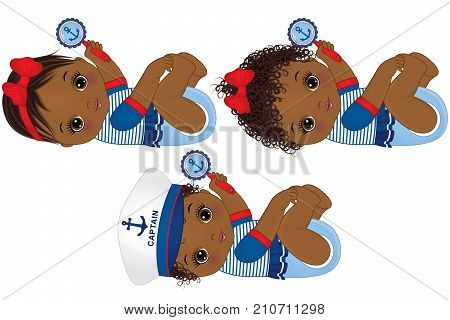 Vector cute little African American baby girls dressed in nautical style. Vector baby girls with rattles. Vector baby girl. African American baby girls vector illustration
