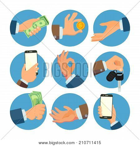 Businessman Hands Set Vector. Salesman, Worker. Banking Finance Sale Concept. Human Hand Business Banner. Hand Holding Smart Phone, Keys. Giving, Receiving Money. Flat Cartoon Isolated