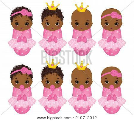 Vector cute African American baby girls dressed as princesses. Vector baby girl.  Vector cute little princess. African American baby girls vector illustration