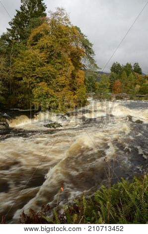 A view of the falls of Dochart at Killin