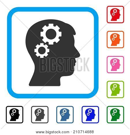 Brain Gears icon. Flat gray iconic symbol inside a light blue rounded rectangle. Black, gray, green, blue, red, orange color additional versions of Brain Gears vector.