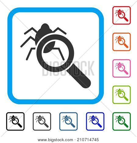 Debugger Explorer icon. Flat gray pictogram symbol in a light blue rounded frame. Black, gray, green, blue, red, orange color variants of Debugger Explorer vector. Designed for web and app interfaces.