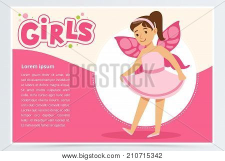 Dancing fairy girl in cute dress with butterfly wings on back. Cartoon child character in action. Flat vector illustration with white and pink background. Flyer or banner design for kids fun party.