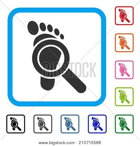 Trace Detective icon. Flat grey iconic symbol in a light blue rounded square. Black, gray, green, blue, red, orange color versions of Trace Detective vector.