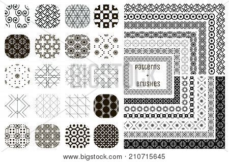 Collection of 20 Black Geometric Seamless Patterns and 12 Flexible, Color, Size and Shape adjustable Pattern Brushes with outer and inner tiles. Vector Illustration. Ornamental Repeating Backgrounds