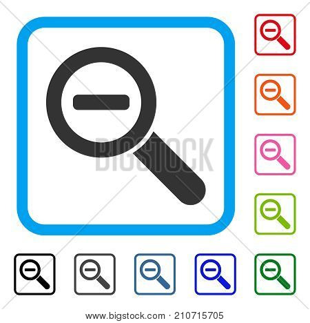 Zoom Out icon. Flat gray pictogram symbol in a light blue rounded frame. Black, gray, green, blue, red, orange color versions of Zoom Out vector. Designed for web and application UI.