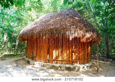 Palapa hut traditional cabin house in Riviera Maya of Mexico