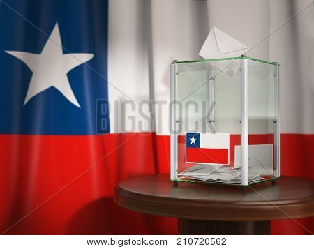 Ballot box with flag of Chile and voting papers. Chilean presidential or parliamentary election . 3d illustration