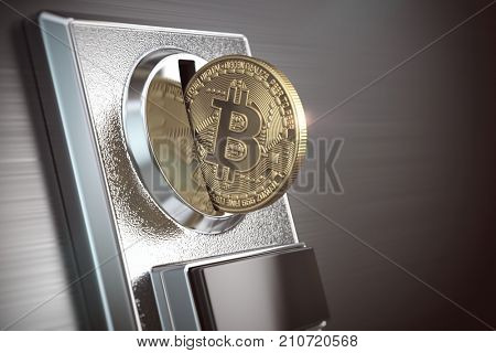Pay by bitcoin concept. BItcoin coin and coin acceptor. 3d illustration