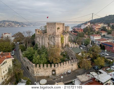 Anatolian Castle Aerial View in Istanbul Turkey