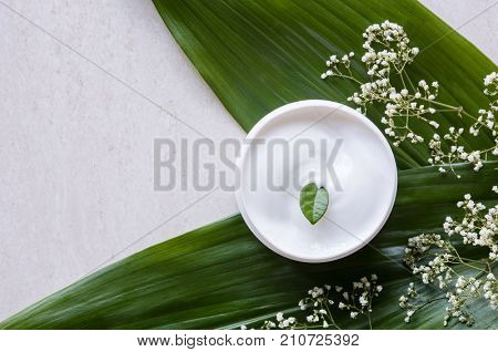 Top view of cosmetic lotion with flowers and green leaf. Skin care beauty treatment with jar of body moisturizer. High angle view of white body lotion with little green leaf on marble background.