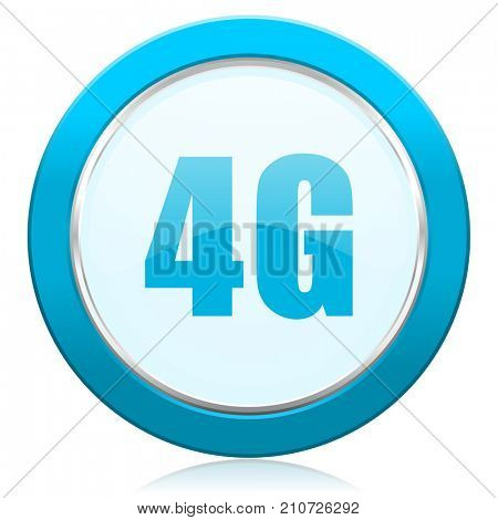 4g blue chrome silver metallic border web icon. Round button for internet and mobile phone application designers.