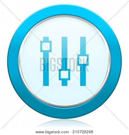 Slider blue chrome silver metallic border web icon. Round button for internet and mobile phone application designers.