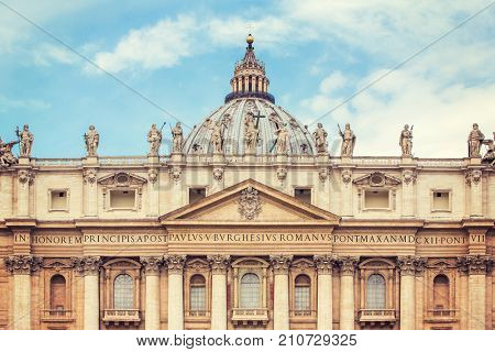 Saint Peter's Basilica at St. Peter's Square in Vatican, Rome, Italy