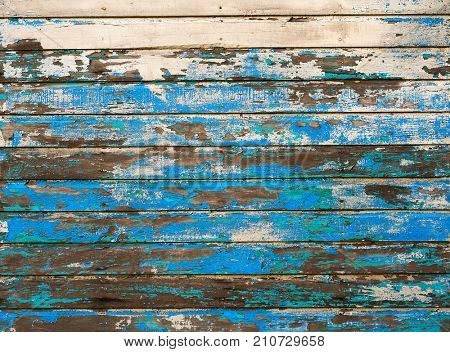 Mahahual Caribbean blue grunge wood painted textures in Costa Maya Mexico
