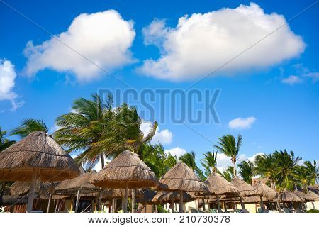 Playa del Carmen beach sunroofs in Riviera Maya Caribbean at Mayan Mexico
