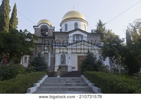 Transfiguration Church in Hosta district of Sochi city at sunrise, Krasnodar region, Russia