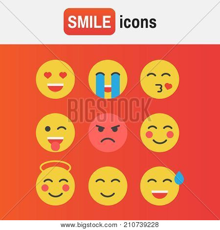 Emoticon Vector Set. Emoticon Icons In Flat Style. Emoticon Collection