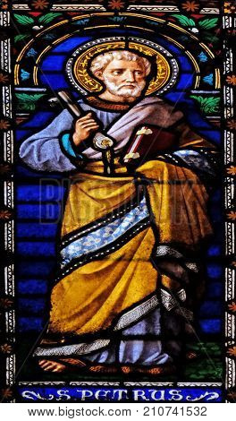 LUCCA, ITALY - JUNE 03: Saint Peter the Apostle, stained glass window in the San Michele in Foro church in Lucca, Tuscany, Italy on June 03, 2017.