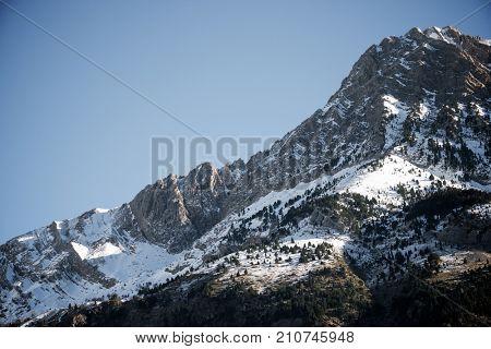 Snowy peak in Tena Valley, Aragon, Huesca, Spain.
