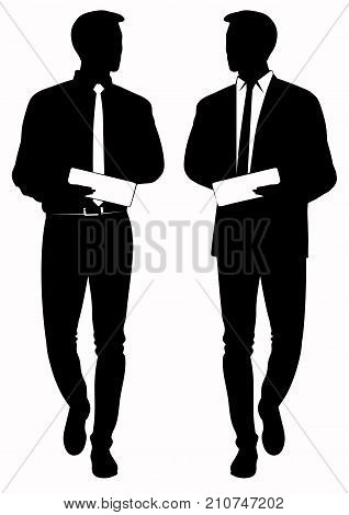 Silhouette of business man in tie and tablet in hands - vector