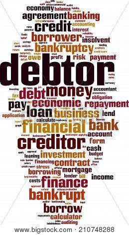 Debtor word cloud concept. Vector illustration on white