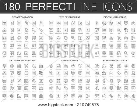 180 modern thin line icons set of seo optimization, web development, digital marketing, network technology, cyber security, human productivity isolated
