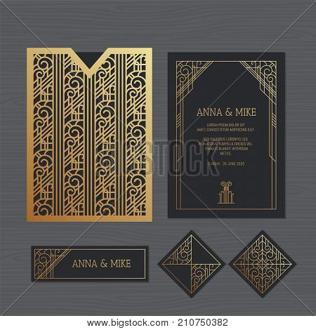 Luxury Wedding Invitation Or Greeting Card With Geometric Ornament. Art Deco Style. Paper Lace Envel