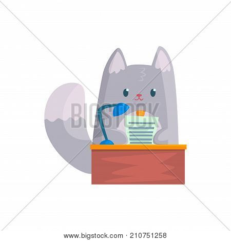 Cute businessman cat speaking from the rostrum, funny animal character cartoon vector Illustration on a white background