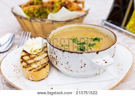 Close Up Of Bowl With Mushroom Cream Soup