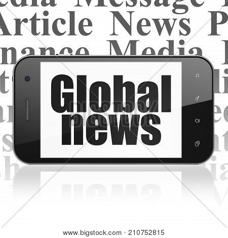 News concept: Smartphone with  black text Global News on display,  Tag Cloud background, 3D rendering