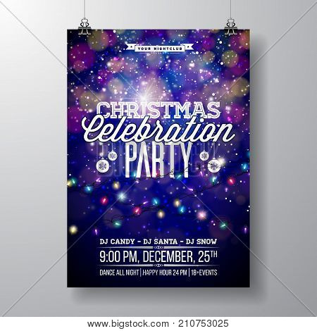 Vector Merry Christmas Party Design with Holiday Typography Elements and Light Garland on Shiny Background. Celebration Fliyer Illustration. EPS 10