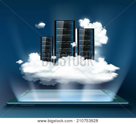 Cloud computing. Server for data storage. Technology background with a tablet or smartphone. Stock vector illustration.