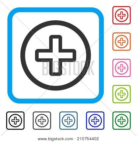 Create icon. Flat grey iconic symbol in a light blue rounded square. Black, gray, green, blue, red, orange color variants of Create vector. Designed for web and software UI.