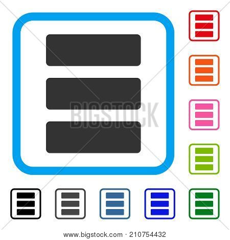 Database icon. Flat gray pictogram symbol in a light blue rounded square. Black, gray, green, blue, red, orange color variants of Database vector. Designed for web and app UI.