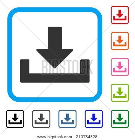 Download icon. Flat gray pictogram symbol inside a light blue rounded rectangle. Black, gray, green, blue, red, orange color variants of Download vector. Designed for web and application interfaces.